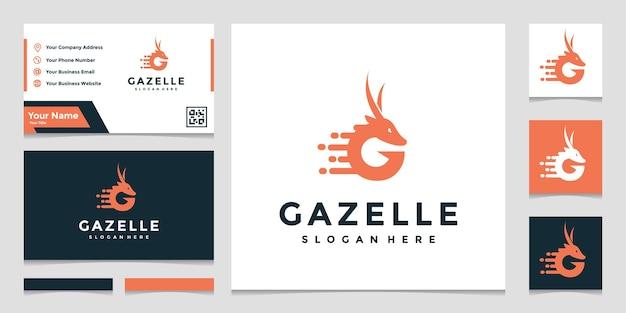 名刺とガゼルのロゴのテンプレート Premiumベクター