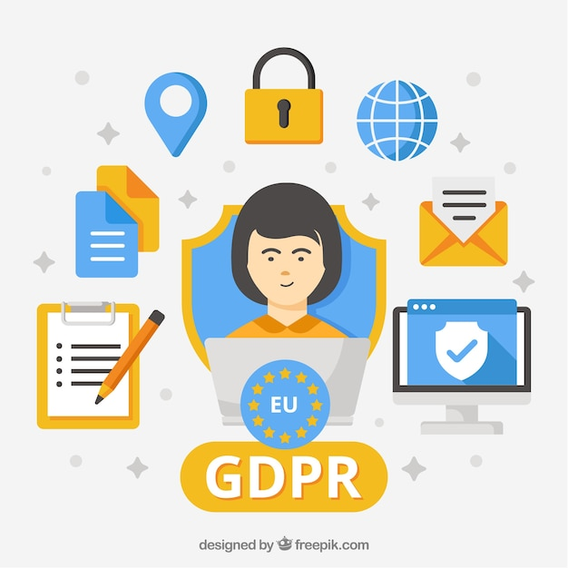 Gdpr concept with flat design Free Vector