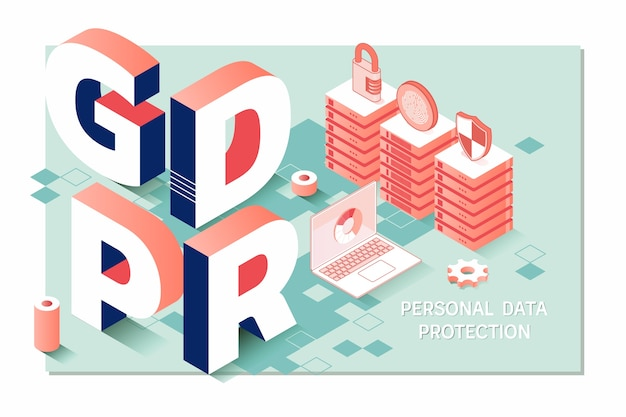 Gdpr. data protection regulation. cyber security and privacy Premium Vector