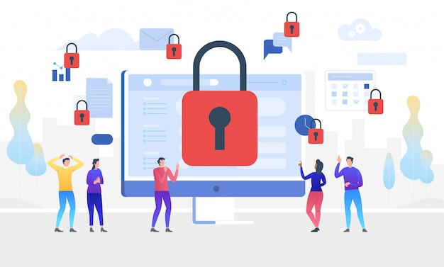 Gdpr. general data protection regulation. access denied. illustration Premium Vector