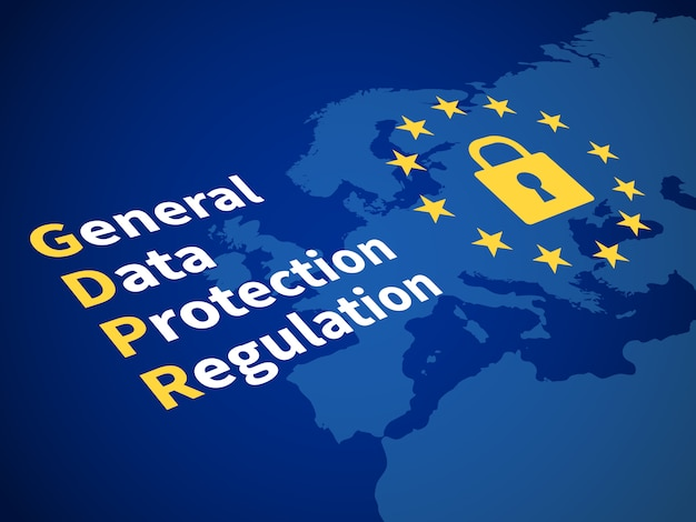 Gdpr general data protection regulation. eu computer safeguard regulations and data encryption vector concept Premium Vector