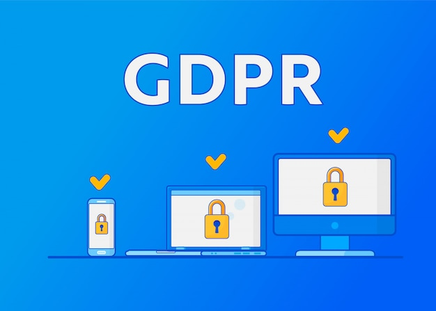 Gdpr general data protection regulation. protection of personal data. Premium Vector