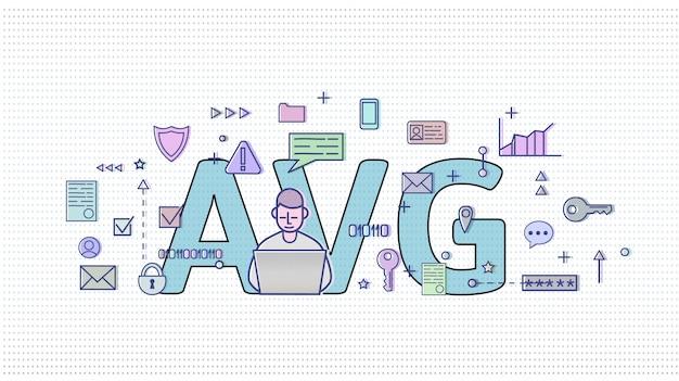 オランダのgdpr。 algemeneの驚異的なgegevensbescherming。後ろに大きなavg文字があるインターネットおよびメディアシンボルの中でコンピューターユーザー。 gdpr、avg、dsgvo。図。水平。 Premiumベクター