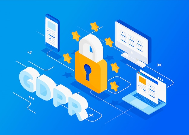 Gdpr isometric concept. protection of personal data. Premium Vector