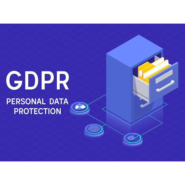 gdpr personal data protection and privacy concept cabinets with