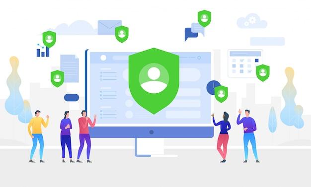 Иллюстрация концепции gdpr. защита данных. общее положение о защите данных. Premium векторы