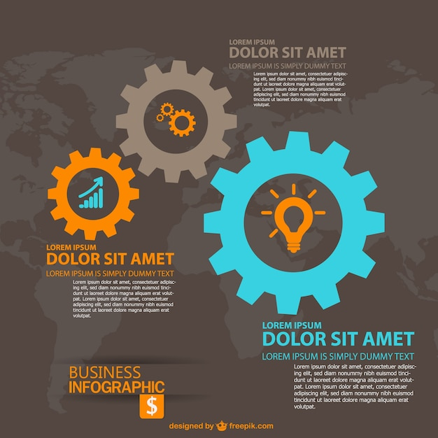 Gear abstract global business infographic  Free Vector