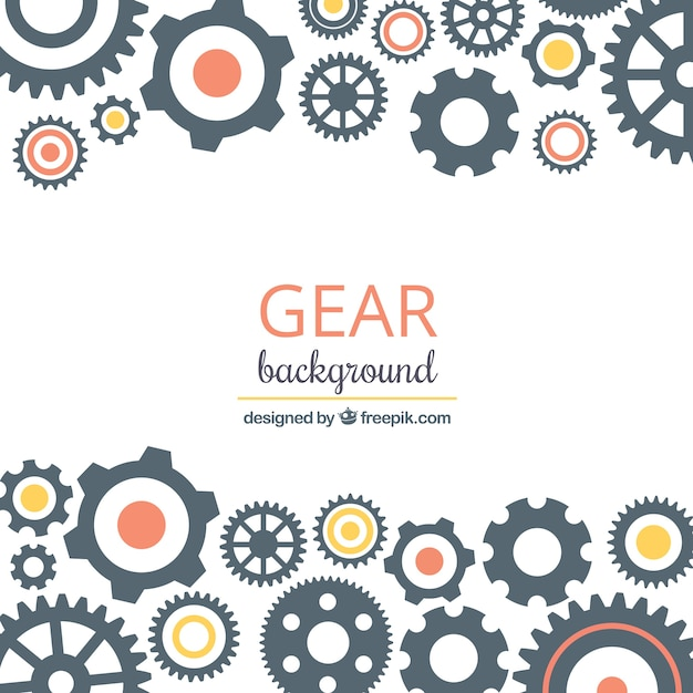 Gear background with circles of different colors Premium Vector