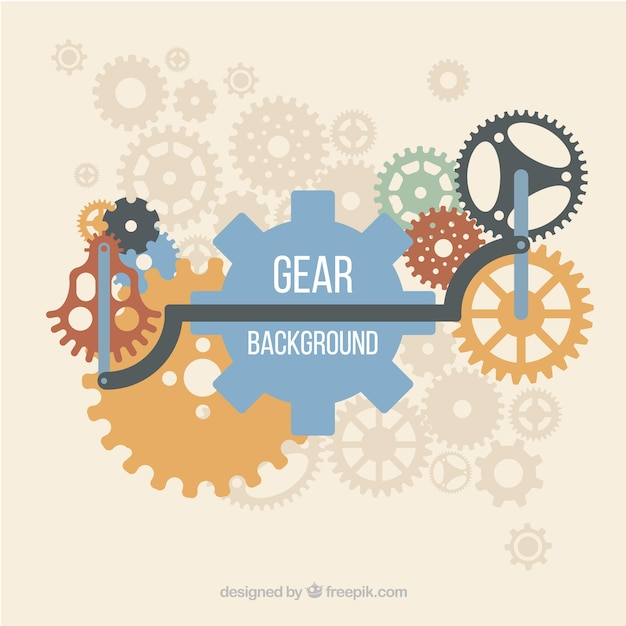 Gear background with pieces in different colors Free Vector
