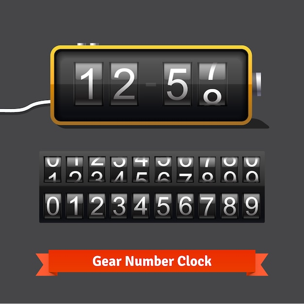 Gear clock and number counter template Free Vector