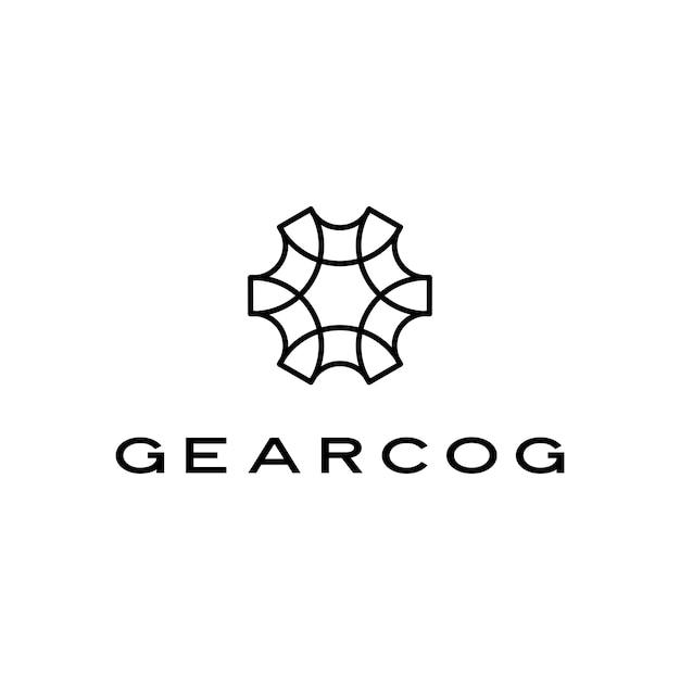 Стиль контура логотипа зубчатой шестерни Premium векторы