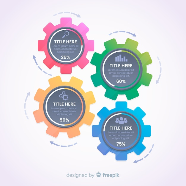 Gear infographic Free Vector