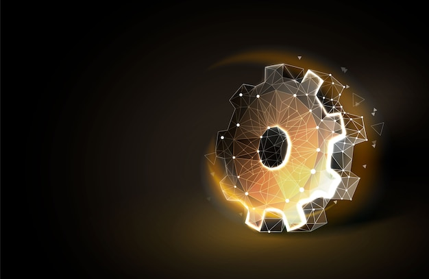 Gear low poly background Premium Vector