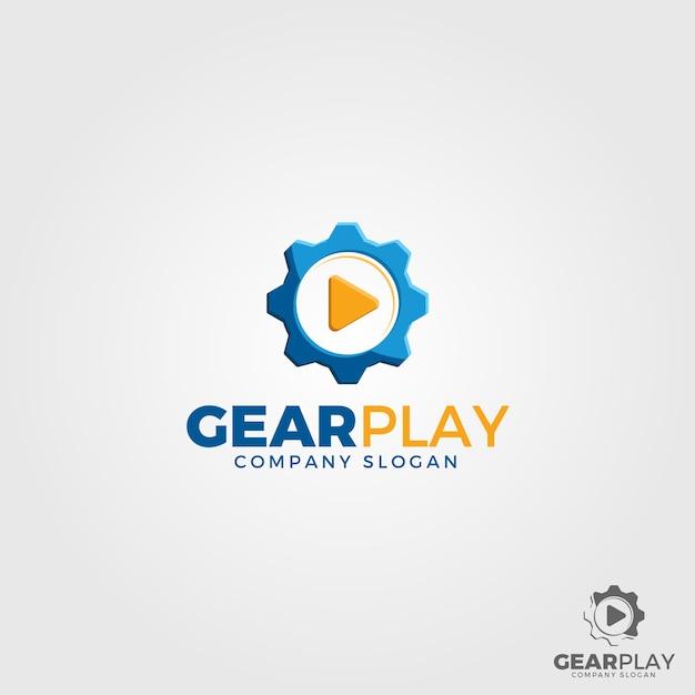 Gear play logo template Premium Vector