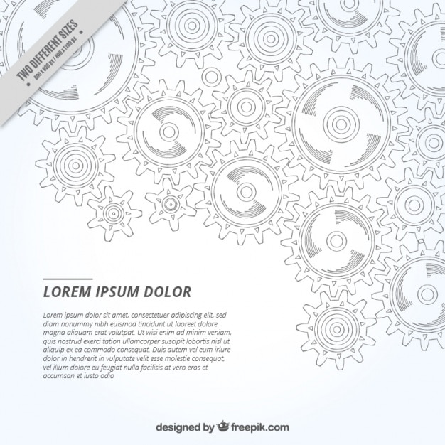 Gear sketches background Free Vector