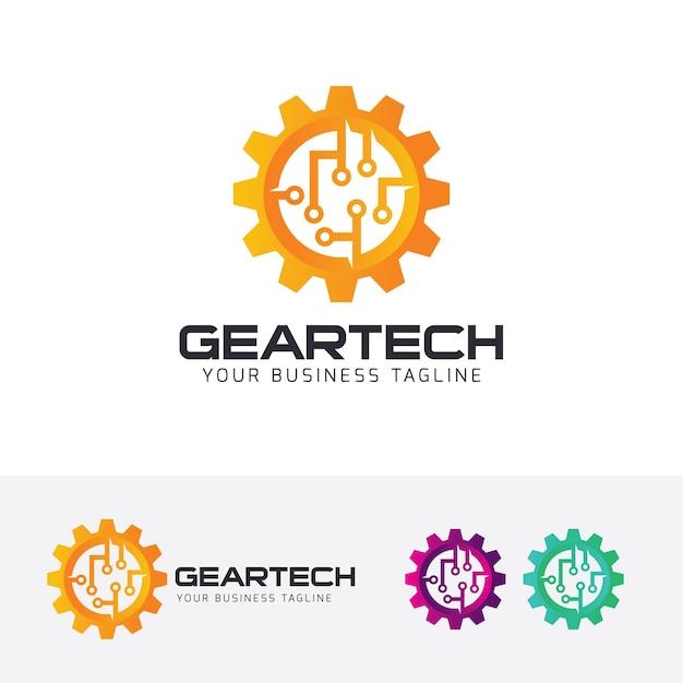 Gear tech vector logo template Premium Vector