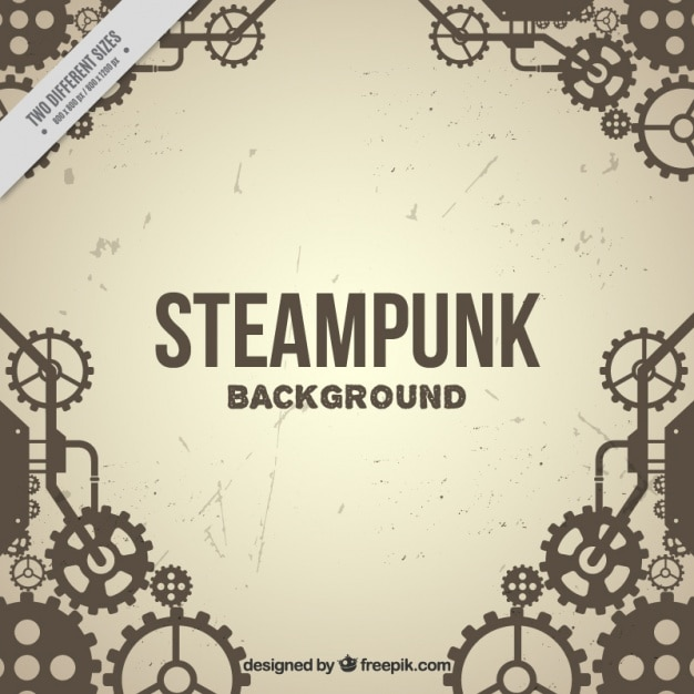 gear vintage background in steampunk style Free Vector