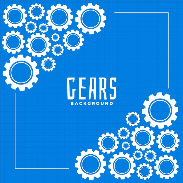 Шестерни и винтик на синем фоне печати Бесплатные векторы
