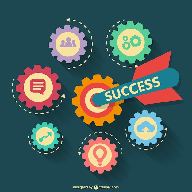 Gears badges about success Free Vector