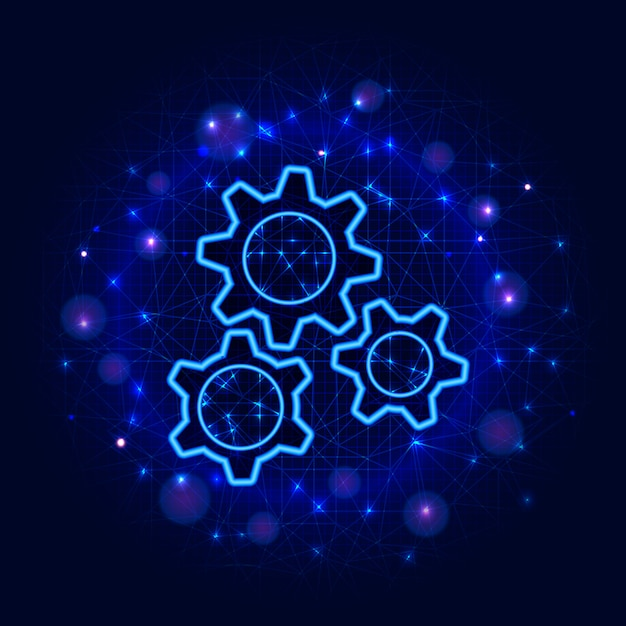 Gears design. low poly wireframe three gear, abstract background. mechanical machine engineering Premium Vector