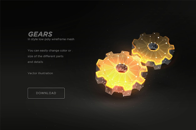 Gears low poly wireframe Premium Vector