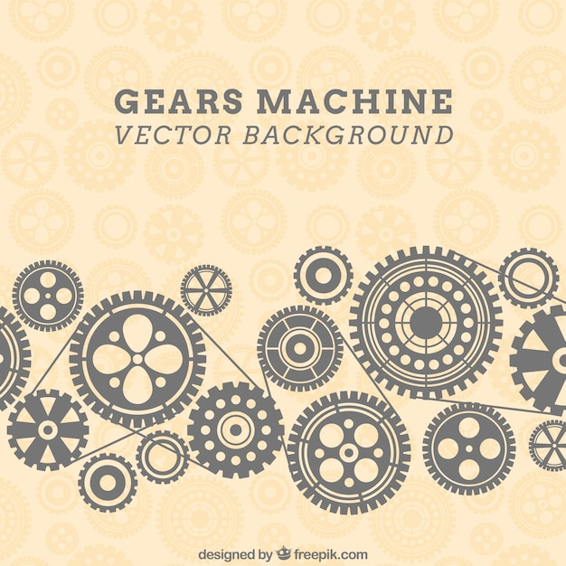 Gears machine background in pattern style Free Vector