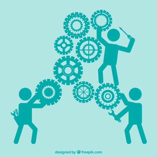 Gears maintenance Free Vector