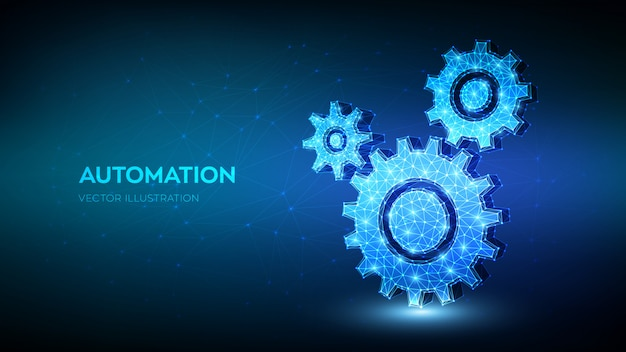 Gears. mechanical technology machine engineering symbol. abstract wireframe low polygonal 3d gears. Premium Vector