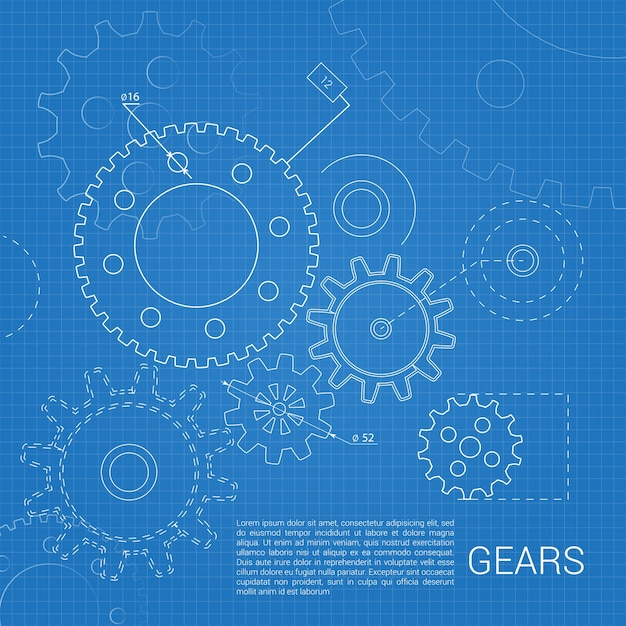 Gears Sketched In A Blueprint Free Vector