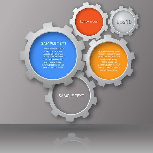 Gears with on the grey background Premium Vector