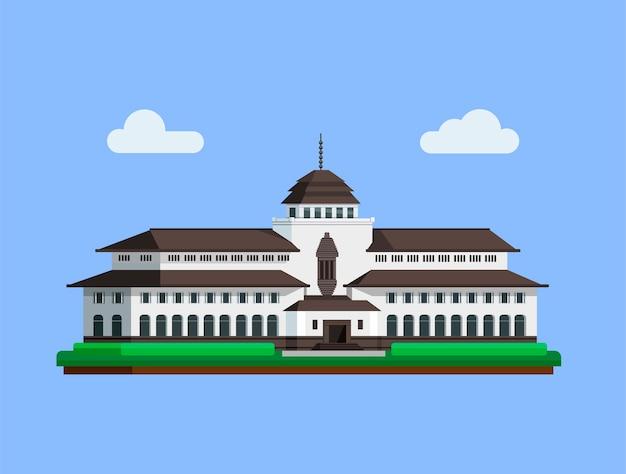 Gedungサテはフラットなイラストでバンドン西ジャワインドネシアコンセプトから有名な建物のランドマークです。 Premiumベクター