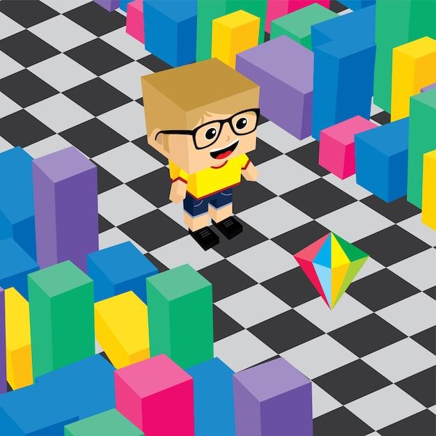 Geek boy invasion video game asset isometric Premium Vector