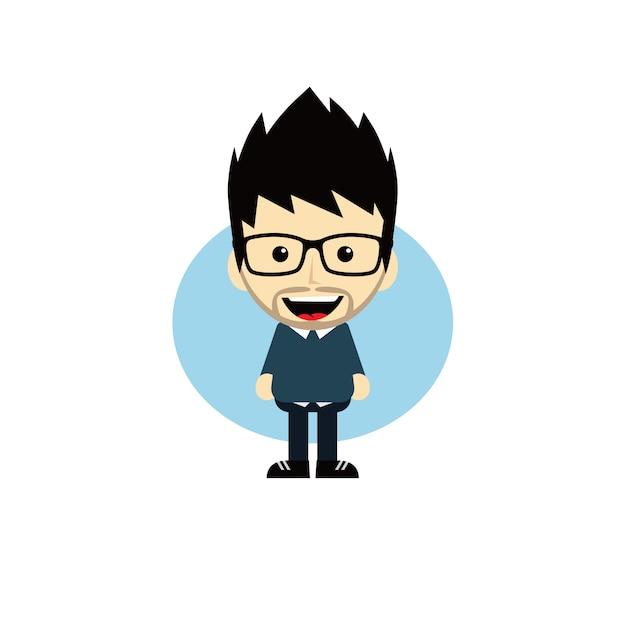 Premium Vector Geek Cartoon Nerd Character