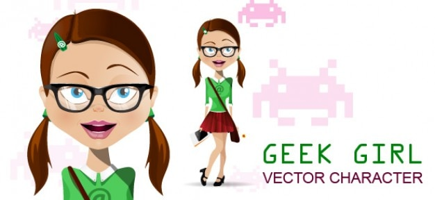geek girl vector character vector free download