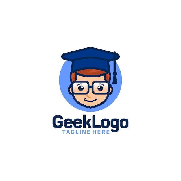 Geek logo design template vector Premium Vector