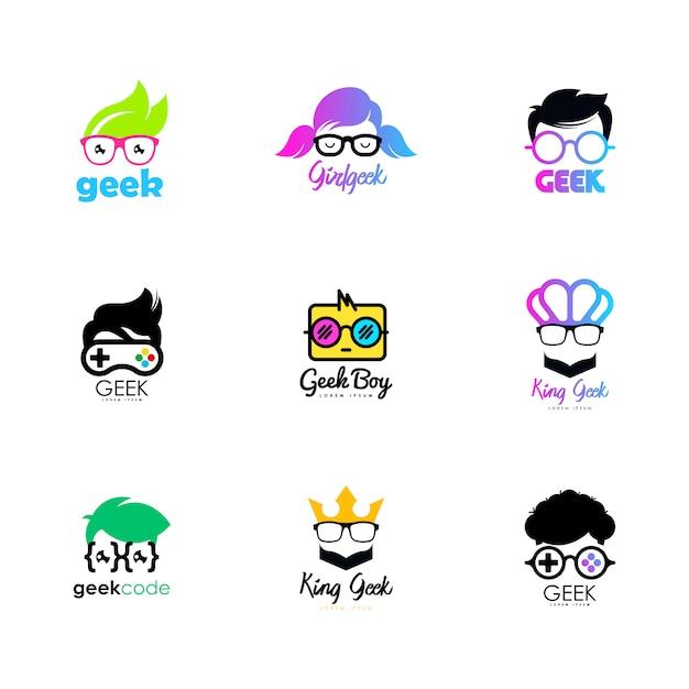 Geek logo Premium Vector