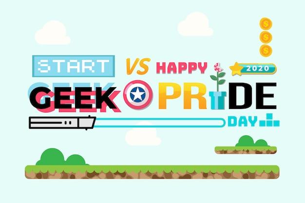 Geek pride day concept с игровыми шрифтами Бесплатные векторы