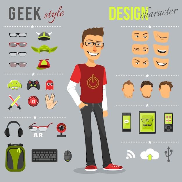 Geek Style Set Free Vector