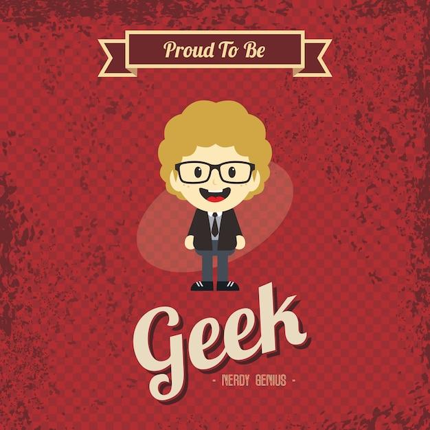 Гениальный geek ретро мультфильм Premium векторы