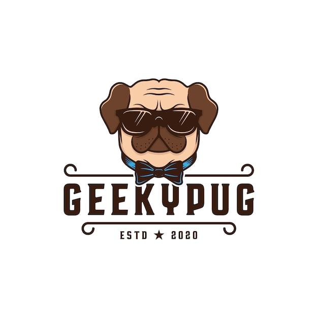 Шаблон логотипа geeky мопса Premium векторы