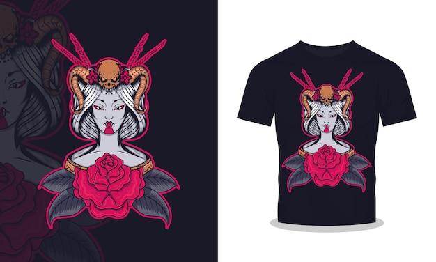 芸者と怒りの頭蓋骨のtシャツのデザインイラスト Premiumベクター