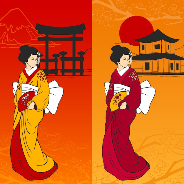 Geisha banner vertical Free Vector