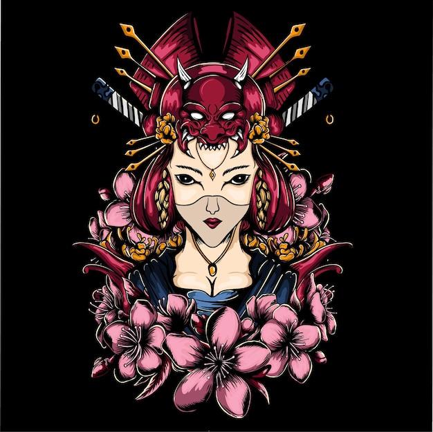 Geisha girl with flower   illustration Premium Vector