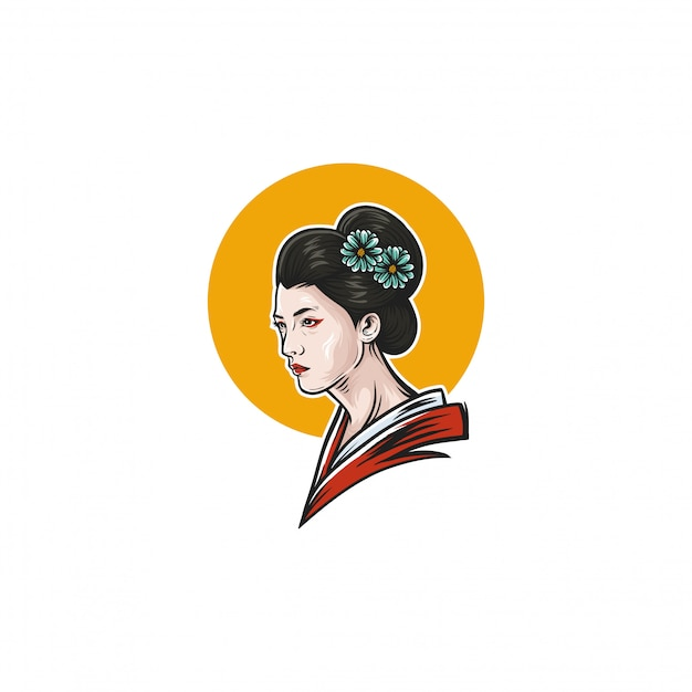 Geisha illustration design Premium Vector