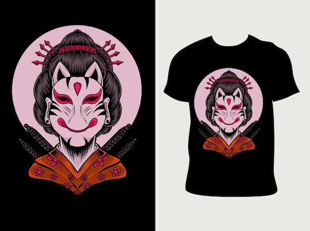 Маска гейши с дизайном футболки Premium векторы