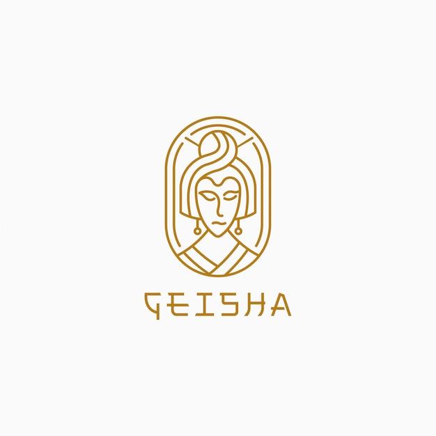 Geisha with line style logo template. Premium Vector