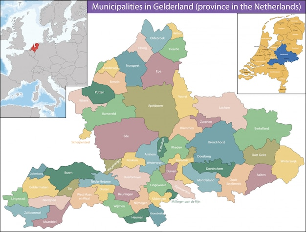 Gelderland is a province of the netherlands Premium Vector