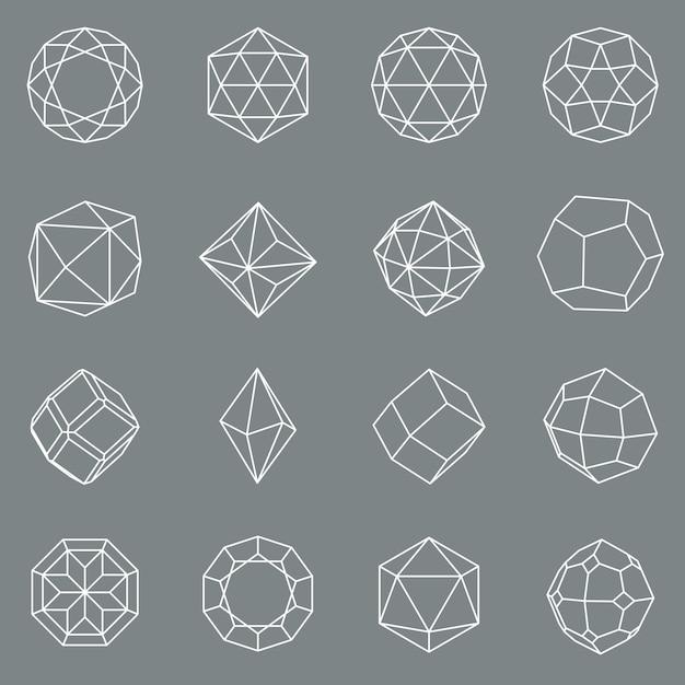 Gem crystal geometric shapes set Premium Vector