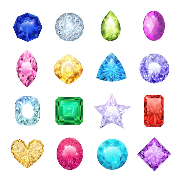 Gem realistic icon set with different sizes and colors ruby diamond sapphire vector illustration Premium Vector