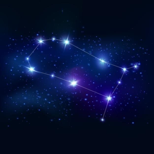 ジェミニのリアルな黄道帯のシンボルで、青い輝きの星と宇宙の接続線 無料ベクター